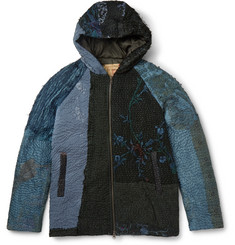 By Walid Patchwork Silk Hooded Jacket