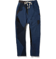 By Walid Patchwork Textured-Cotton Trousers
