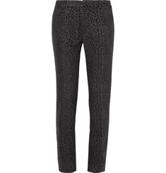 Calvin Klein Collection Charcoal Slim-Fit Cheetah Wool-Blend Jacquard Trousers