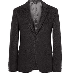 Calvin Klein Collection Charcoal Slim-Fit Cheetah Wool-Blend Jacquard Blazer