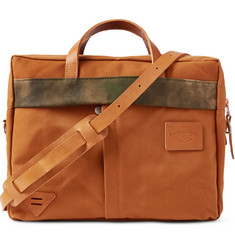 Atelier de L'Armée Camouflage-Print Leather-Trimmed Canvas Briefcase