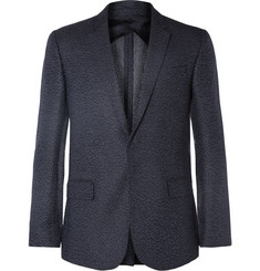 Kilgour Navy Slim-Fit Spotted Silk and Wool-Blend Blazer