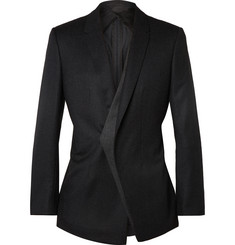 Kilgour Charcoal Slim-Fit Asymmetric Wool Blazer