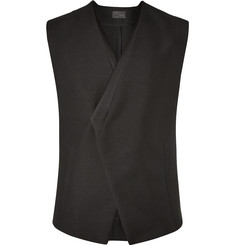 Kilgour Black Satin-Trimmed Asymmetric Mohair and Wool-Blend Waistcoat