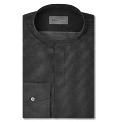 Kilgour Black Metallic Polka-Dot Cotton-Gauze Shirt