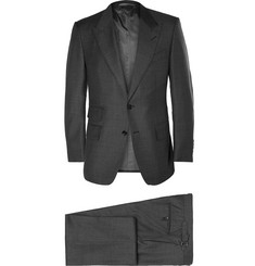 Tom Ford Grey Slim-Fit Sharkskin Wool Three-Piece Suit