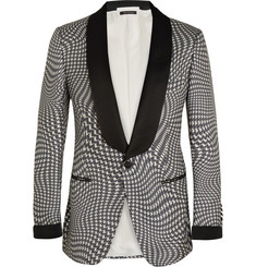 Tom Ford Grey Houndstooth Silk Tuxedo Jacket