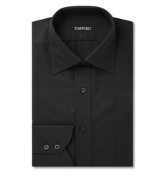 Tom Ford Black Mitered-Cuff Cotton-Twill Shirt