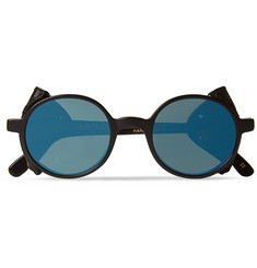 L.G.R Round-Frame Leather-Trimmed Acetate Sunglasses