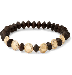 Luis Morais Gold, Diamond and Ebony Bead Bracelet