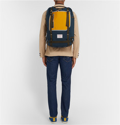 Master-Piece Area Leather-Trimmed Canvas Backpack