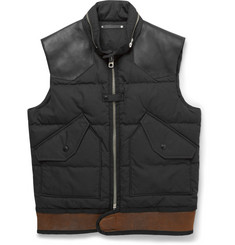 Coach Leather and Shearling-Trimmed Down-Filled Shell Gilet