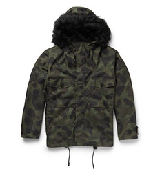 Coach Shearling-Trimmed Camouflage-Print Canvas Coat