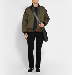Coach Leather and Shearling-Trimmed Cotton-Blend Bomber Jacket