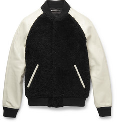 Coach Shearling and Leather Varsity Jacket