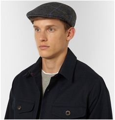 Lock & Co Hatters Windowpane-Checked Wool Flat Cap