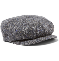 Lock & Co Hatters Flecked Wool-Tweed Flat Cap
