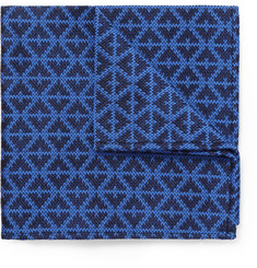 Marwood - Patterned Woven Wool and Silk-Blend Pocket Square