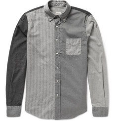 Wooster + Lardini Slim-Fit Button-Down Collar Patchwork Cotton Shirt