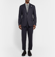Wooster + Lardini Navy Cropped Chalk-Stripe Wool Trousers