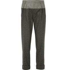 Wooster + Lardini Colour-Block Cropped Wool-Flannel Trousers
