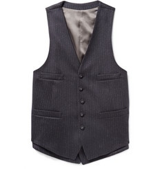Wooster + Lardini Navy Layered Chalk-Striped Wool Waistcoat
