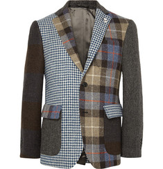 Wooster + Lardini Slim-Fit Patchwork Wool-Tweed Blazer