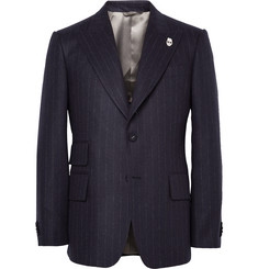 Wooster + Lardini Navy Peak-Lapel Chalk-Striped Wool Blazer