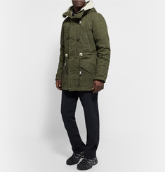 Snow Peak - Shearling-Trimmed Waxed-Cotton Down Jacket