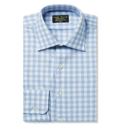 Emma Willis Blue Slim-Fit Gingham Brushed-Cotton Shirt