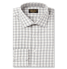 Emma Willis Grey Gingham Brushed-Cotton Shirt
