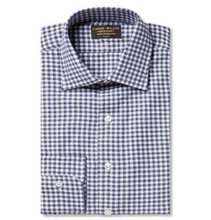 Emma Willis Navy Slim-Fit Gingham Brushed-Cotton Shirt