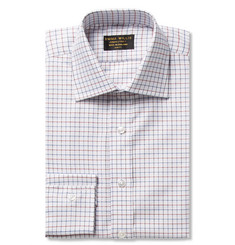 Emma Willis White Slim-Fit Tattersall-Check Cotton Oxford Shirt