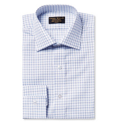Emma Willis White Slim-Fit Tattersall-Checked Cotton Oxford Shirt