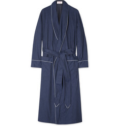 Emma Willis Herringbone Brushed-Cotton Robe