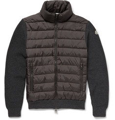 Moncler Quilted Wool-Blend and Shell Down Zip-Up Top