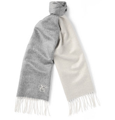 Canali Two-Tone Double-Faced Silk and Cashmere-Blend Scarf