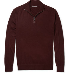 Michael Kors Half-Zip Merino Wool and Cotton-Blend Sweater
