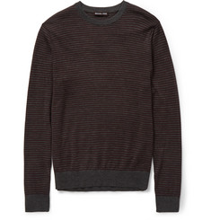 Michael Kors Striped Stretch Merino Wool-Blend Sweater
