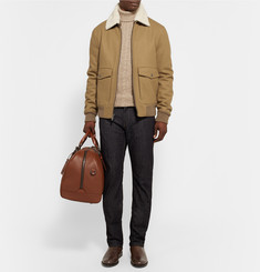 Michael Kors Shearling-Trimmed Melton Wool-Blend Bomber Jacket