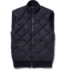Michael Kors Leather-Trimmed Quilted Stretch Wool-Blend Gilet