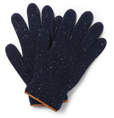 Oliver Spencer - Leather-Trimmed Donegal Wool Gloves
