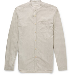 Oliver Spencer Loungewear - Grandad-Collar Striped Cotton, Silk and Cashmere-Blend Shirt