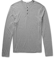 James Perse Sulvin Mélange Cotton-Jersey Henley T-Shirt