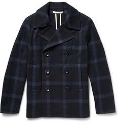 Outerknown Hemisphere Windowpane-Checked Wool-Blend Peacoat
