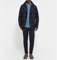 Outerknown Hemisphere Windowpane Check Wool-Blend Peacoat
