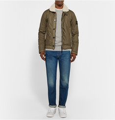 Stone Island Shearling-Trimmed Coated Cotton-Muslin Bomber Jacket