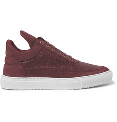Filling Pieces Suede and Lizard-Effect Leather Sneakers