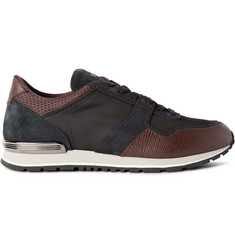 Tod's Cross-Grain Leather, Suede and Neoprene Sneakers