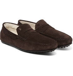 Tod's Gommino Shearling-Lined Suede Driving Shoes